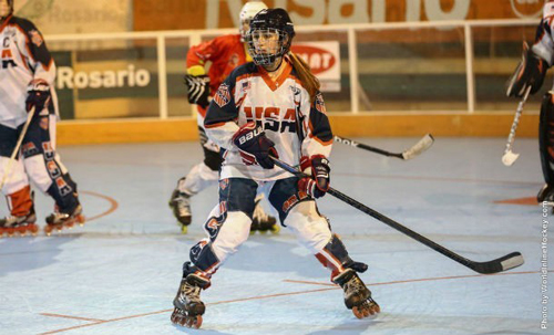 Sarah Sinning of Peconic helped lead Team USA to a silver medal last weekend. (Credit: worldinlinehockey.com)