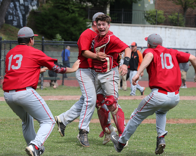 The celebration was on after Southold defeated Tuckahoe in Saturday's Class C state quarterfinal. (Credit: Daniel De Mato)