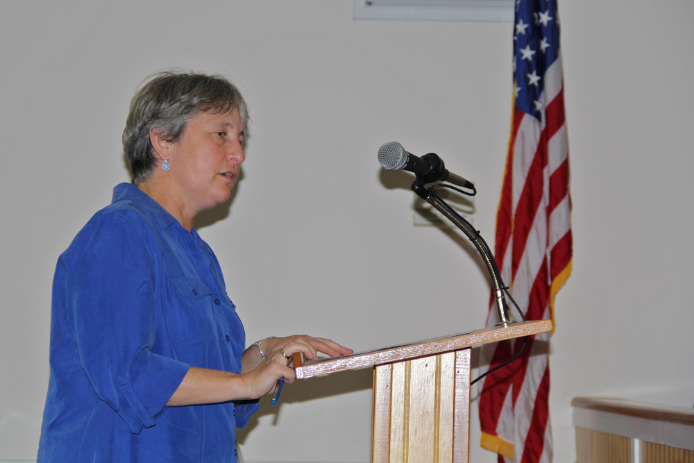 Southold land preservation coordinator Melissa Spiro thanked the Sinatra Family of East Marion for their donation during Tuesday's board meeting. (Credit: Carrie Miller)