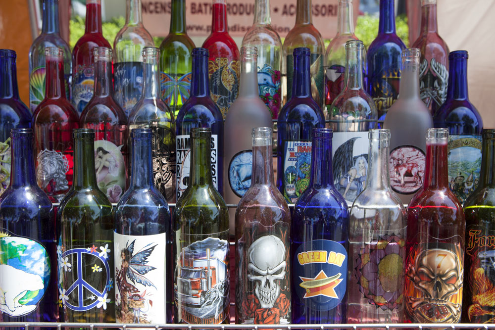 Decorated wine bottles for sale. (Credit: Katharine Schroeder)