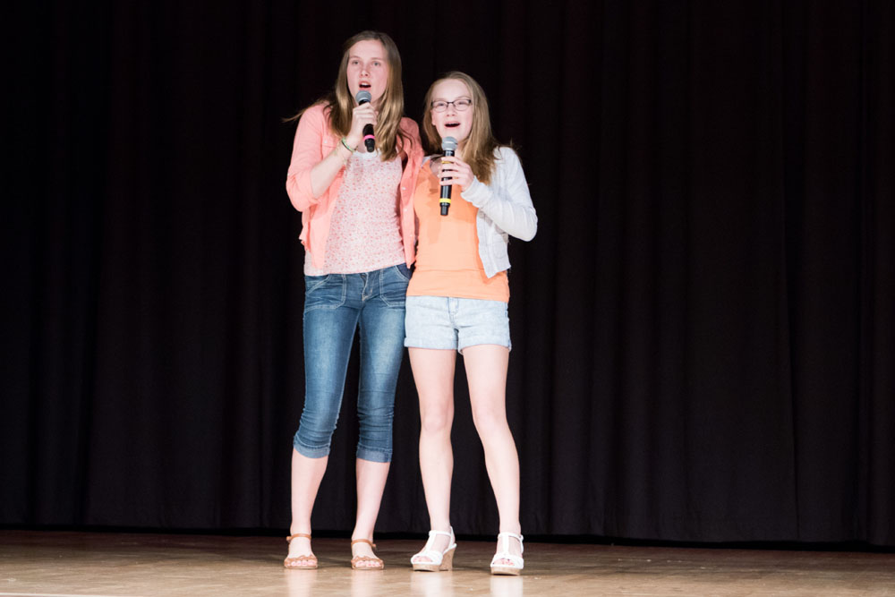 Emily Russell and Maggie Scott sing Keep Your Head Up. (Credit: Katharine Schroeder)