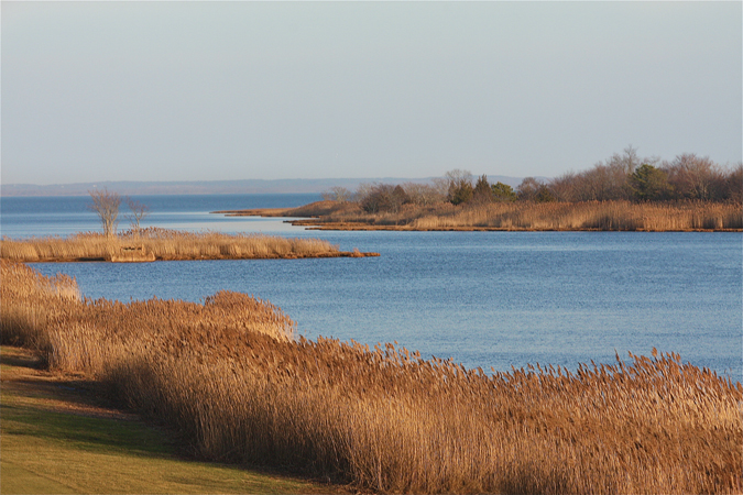 BARBARAELLEN KOCH PHOTO | The view from Route 105 bridge at Indian Island golf course as the Peconic River leads into the Bay.