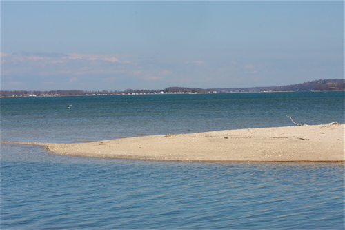 A sandbar at the end of Pine Neck Road in Southold. (Credit: Barbaraellen Koch)
