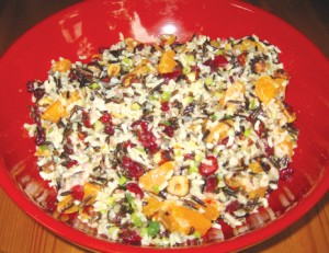 Wild rice/dried cranberry salad with clementine vinaigrette.