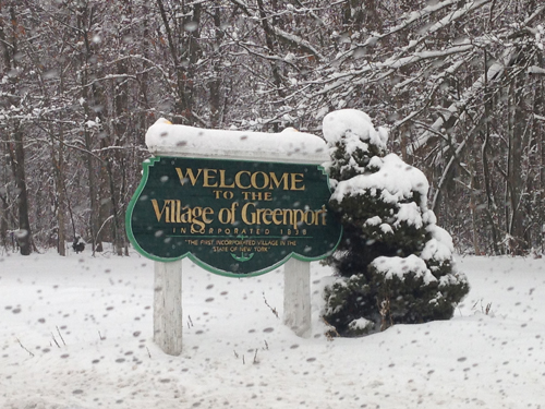 Welcome to beautiful, snowy Greenport. Cyndi Murray photo.