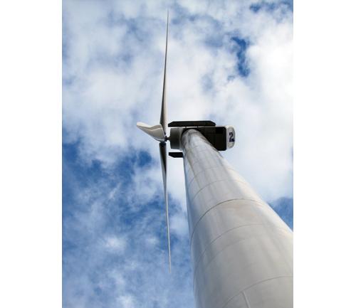 A wind turbine in Laurel. (Credit: File photo)