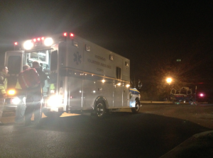 COURTESY PHOTO | Members of the Riverhead Volunteer Ambulance Corps on scene at a crash Monday night in Calverton.